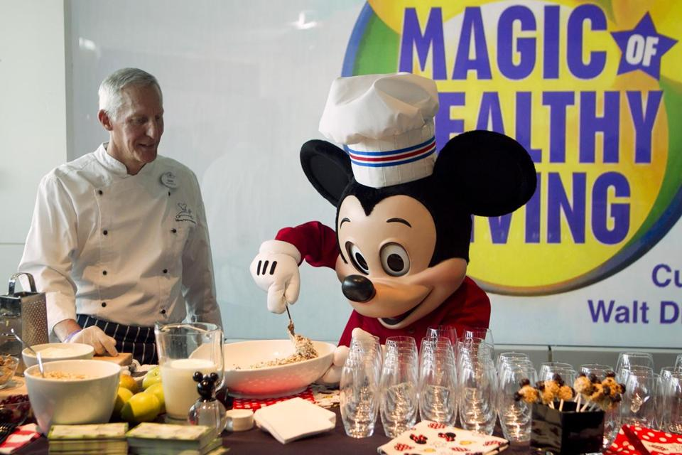 Disney provided a healthy cooking demonstration in Washington Tuesday in conjunction with the announcement that it will restrict the advertising of food linked to obesity.