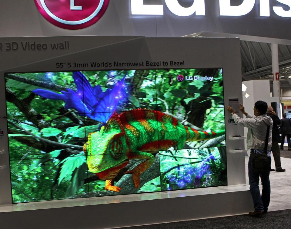 An LG 3D video wall at SID Display Week. TV makers have tried spurring sales and boosting prices with new technology.