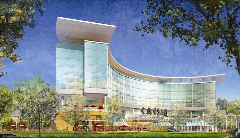 An architectural rendering of the proposed gambling resort at Suffolk Downs.