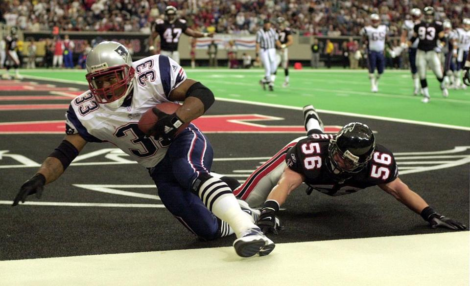 Kevin Faulk put the Patriots on the scoreboard with a touchdown in the second quarter.