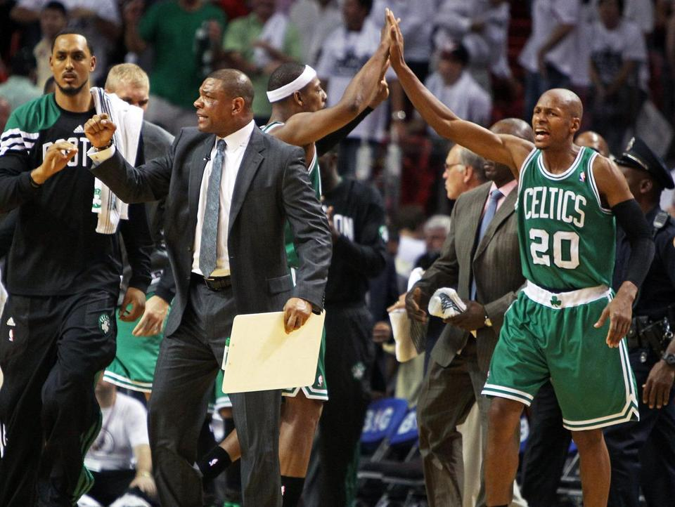 Coach Doc Rivers and veterans Paul Pierce and Ray Allen celebrated as the final horn sounded.