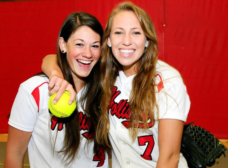 Holliston High senior cocaptains Molly Blake (left) and Ashley Higgins have happy memories of their high school softball careers, but, with no plans to play in college, are already missing being part of a team.