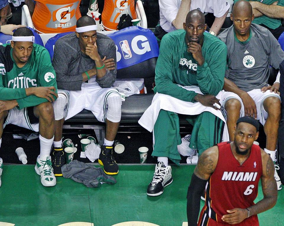 Boston's stars sat quietly in the fourth quarter as Miami's LeBron James remained in action.