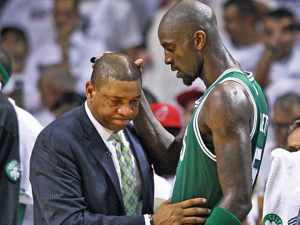 Coach Doc Rivers and Kevin Garnett share a moment after Garnett came out of Game 7 for the final time with 28.3 seconds left.