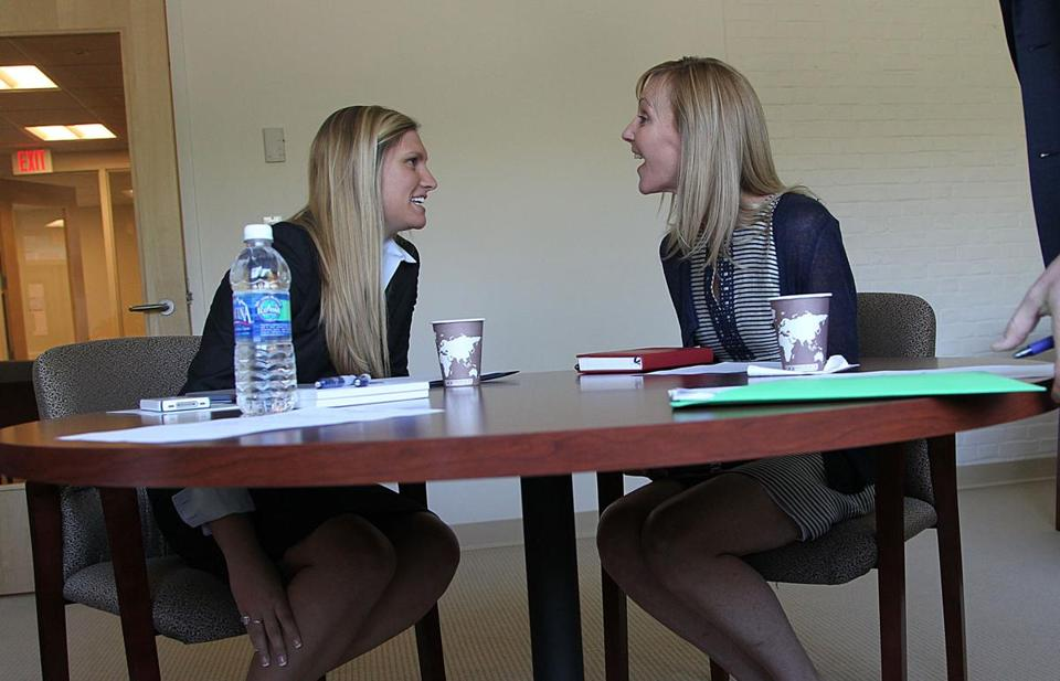 Betsy Myers, right, director of Bentley University's Center for Women and Business, and Bentley student Maggy Reynolds.