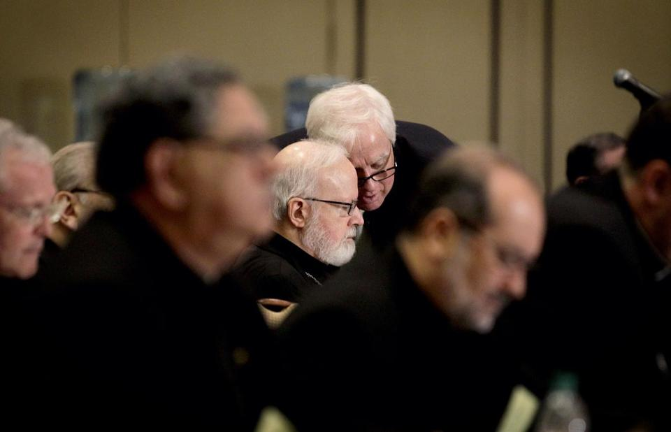 While attending a twice-yearly gathering of bishops in Atlanta Wednesday, Cardinal Sean O'Malley (center left) spoke for the first time about a Vatican rebuke to a US nuns' group.