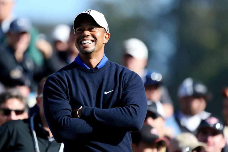 Tiger Woods enjoyed a laugh during a practice round on Tuesday.