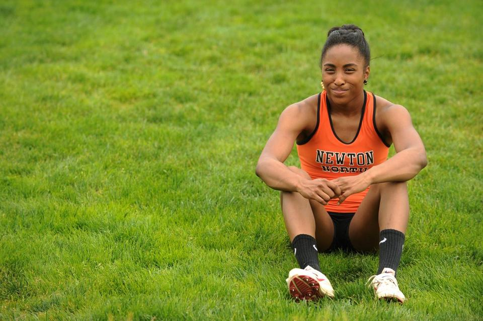 Track All-Scholastic Carla Forbes of Newton North is a frequent flier and a national champion.
