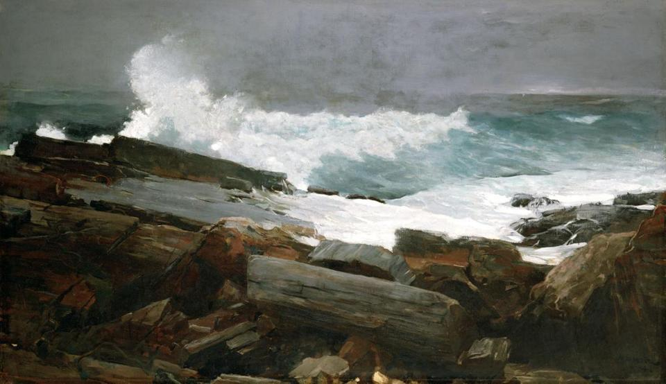 "Winslow Homer's ""Weatherbeaten,"" an 1894 oil on canvas, captures the elemental forces at Prouts Neck."