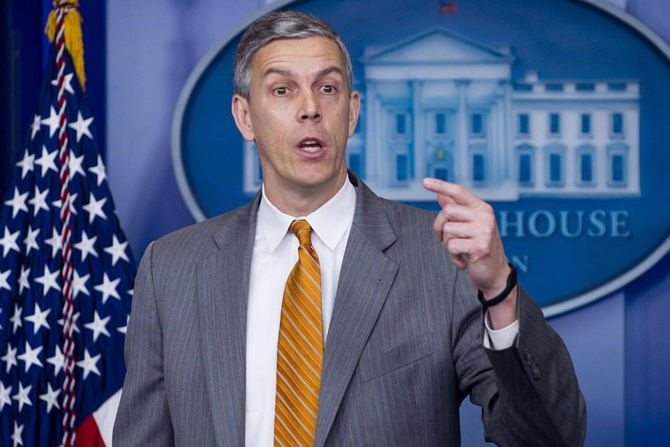 US Secretary of Education Arne Duncan spoke about student loan interest rates in a press conference in Washington in April.