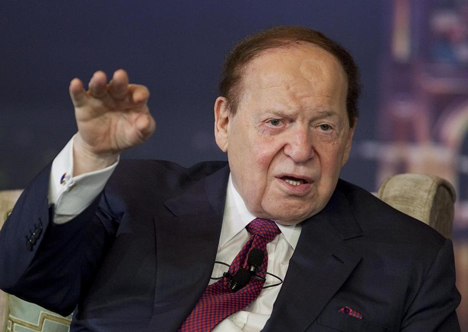 Sheldon Adelson, chairman and chief executive officer of Las Vegas Sands Corp., is seen a news conference during the opening of the Sands Cotai Central resort in Macau, China, on April 11.