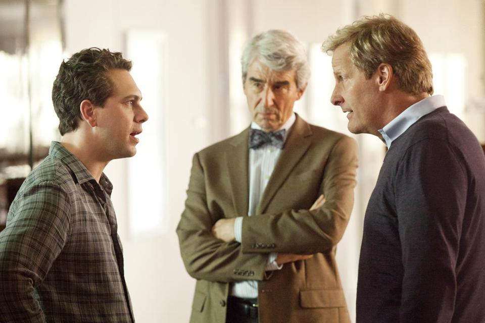 "From left: Thomas Sadoski, Sam Waterston, and Jeff Daniels in ""The Newsroom,'' about a fictional 24-hour TV news network."