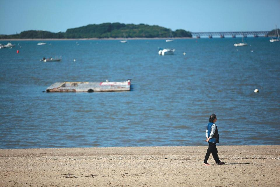 A woman walked along Wollaston Beach, one of 10 beaches closed to swimming because of high bacteria counts on Thursday.