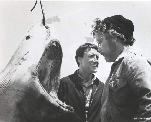 "Roy Scheider (center) and Richard Dreyfuss with the wrong shark in the movie ""Jaws."""