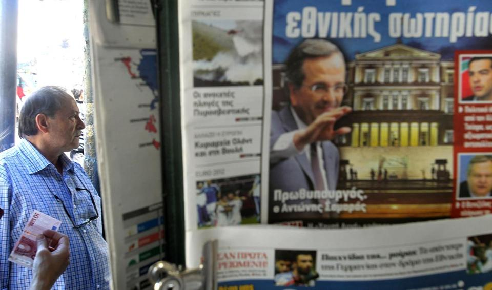 The front page of a newspaper declared victory for the New Democracy Party at a news stand in central Athens.