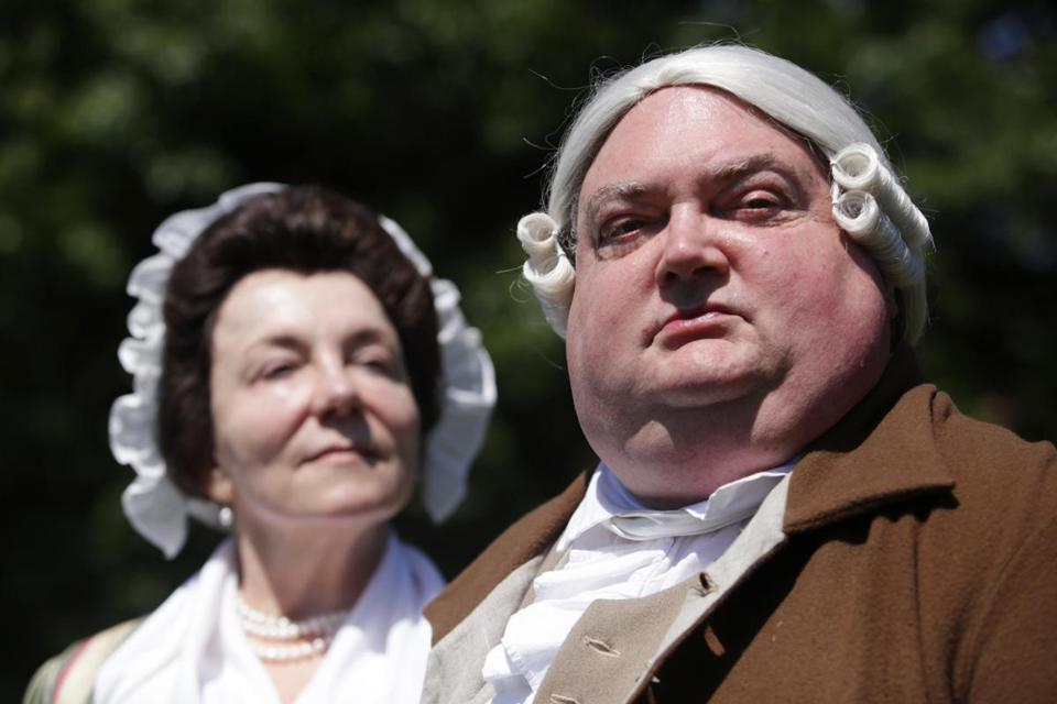 Living-history performers Patricia Bridgman and Tom Macy, modeling their 18th-century garb, will read from the romantic correspondence between Abigail and John Adams on three afternoons this summer in Concord.
