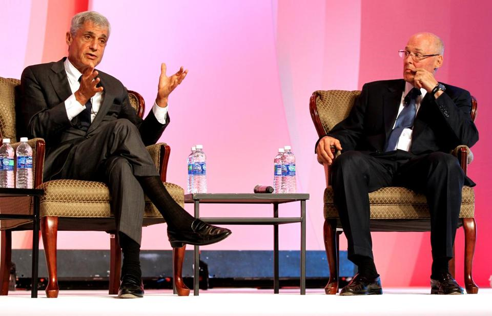 Former secretaries of the Treasury Robert E. Rubin (left) and Henry M. Paulson Jr.  spoke during a panel discussion at the Biotechnology Industry Organization keynote luncheon in Boston on Tuesday.