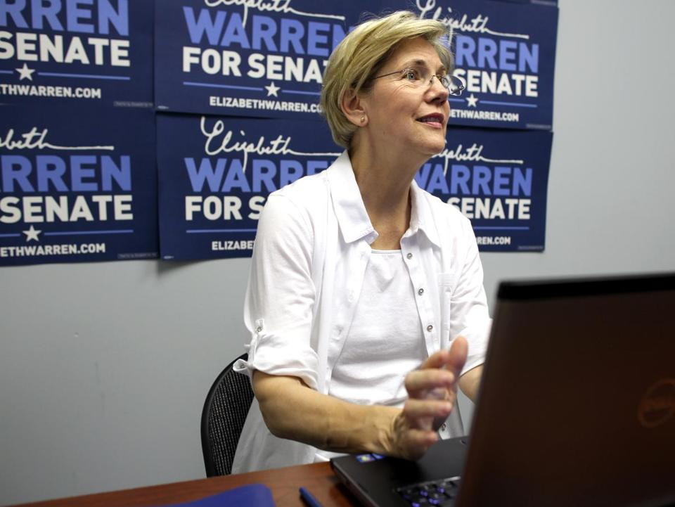 """I've been clear about what I believe, regardless of how it sits politically,"" Elizabeth Warren said in an online chat."