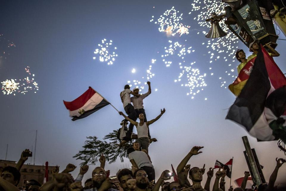 Egyptians celebrated the election of their new president, Mohammed Morsi, Sunday in Tahrir Square in Cairo.