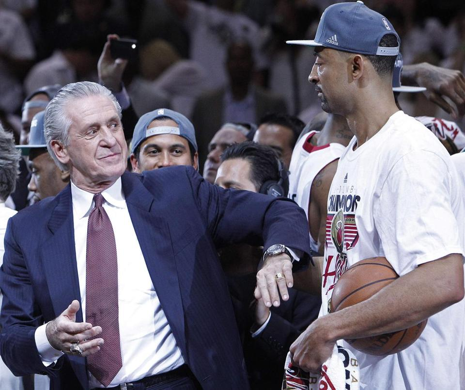 As team president, Pat Riley said, he began plans to build Miami's big trio four years before the summer of 2010, using the Celtics model.
