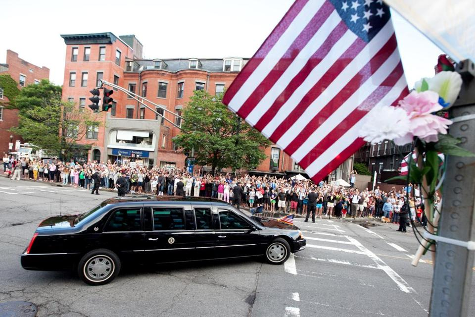 The president's motorcade departed Hamersley's Bistro in the South End and turned on to  Clarendon and Tremont streets on the way to Symphony Hall.