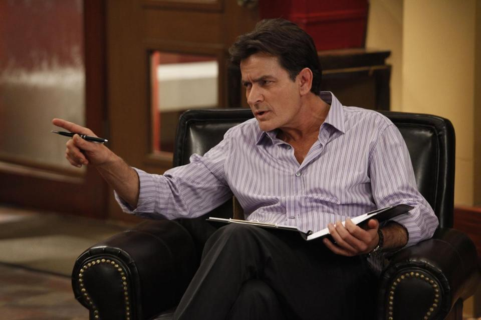"Charlie Sheen plays a former baseball player turned therapist in the new FX sitcom ""Anger Management."""