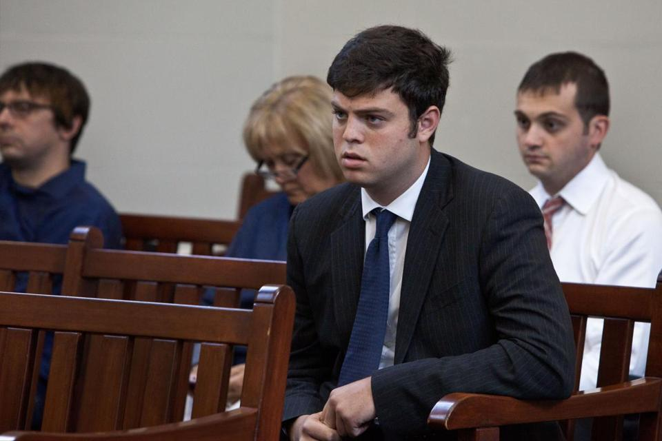 Boston University student Alexander Nisenzon, 21, attended his arraignment hearing at Brighton District Court for his participation in an alleged hazing incident at an Ashford Street residence in April.