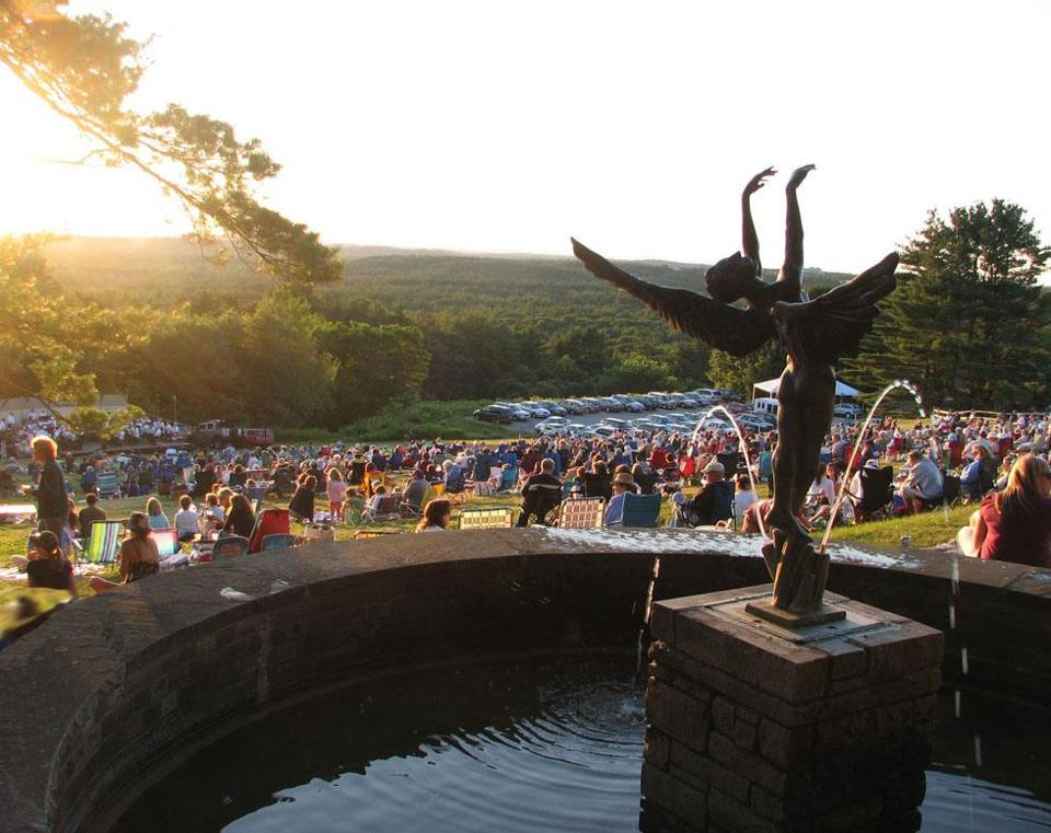 The Concord Band performs every Thursday evening in July on the grounds of the Fruitlands Museum in Harvard; admission is per carload.