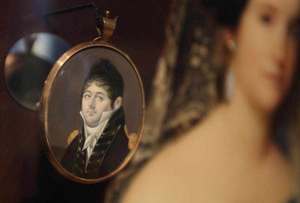 Artifacts from the USS Constitution include a locket from Captain Hull, which he gave to his wife with a lock of hair.