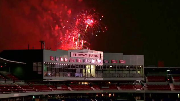This doctored TV image last year showed the fireworks display directly behind Fenway Park.