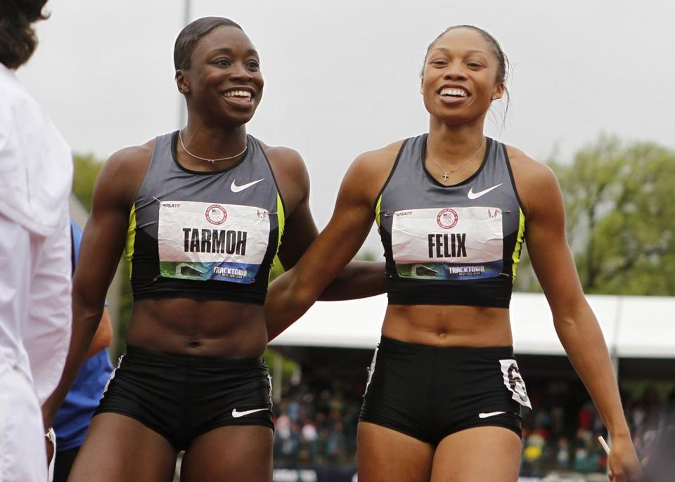 After Jeneba Tarmoh and Allyson Felix had run the same time (11.068) in the 100 final, they were only 1,000th of a second apart in the 200 semifinals.