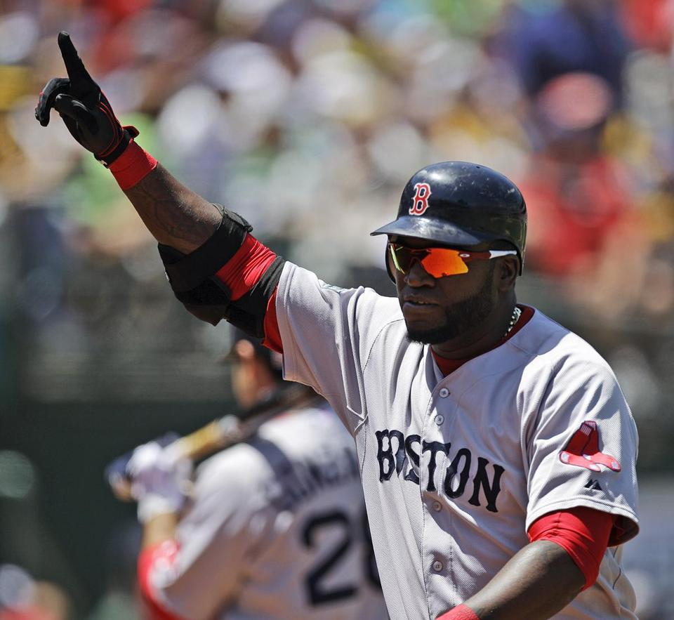 David Ortiz hit his 400th career home run off Oakland Athletics' pitcher A.J. Griffin in the fourth inning in Oakland on Wednesday.