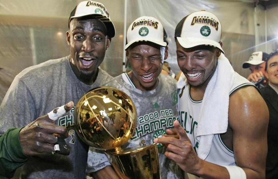 The Celtics' Big Three of Kevin Garnett, Ray Allen, and Paul Pierce captured the 2008 NBA title in their first season together.