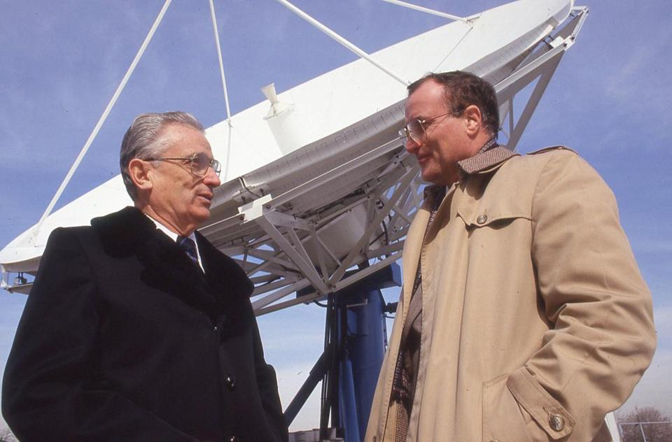 George St. Andre (left), with Joe Gianquinto near a WBZ-TV antenna. Mr. St. Andre became WBZ chief engineer in 1970.