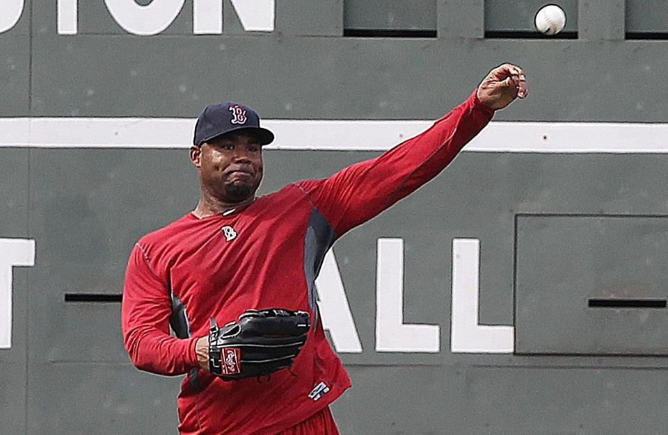 Carl Crawford completed some drills in the outfield before the second game of a doubleheader with the Yankees.