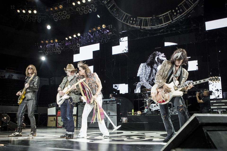 The members of Aerosmith (including, from left, Tom Hamilton, Brad Whitford, Steven Tyler, and Joe Perry) say their fans are a big part of the band's new energy.