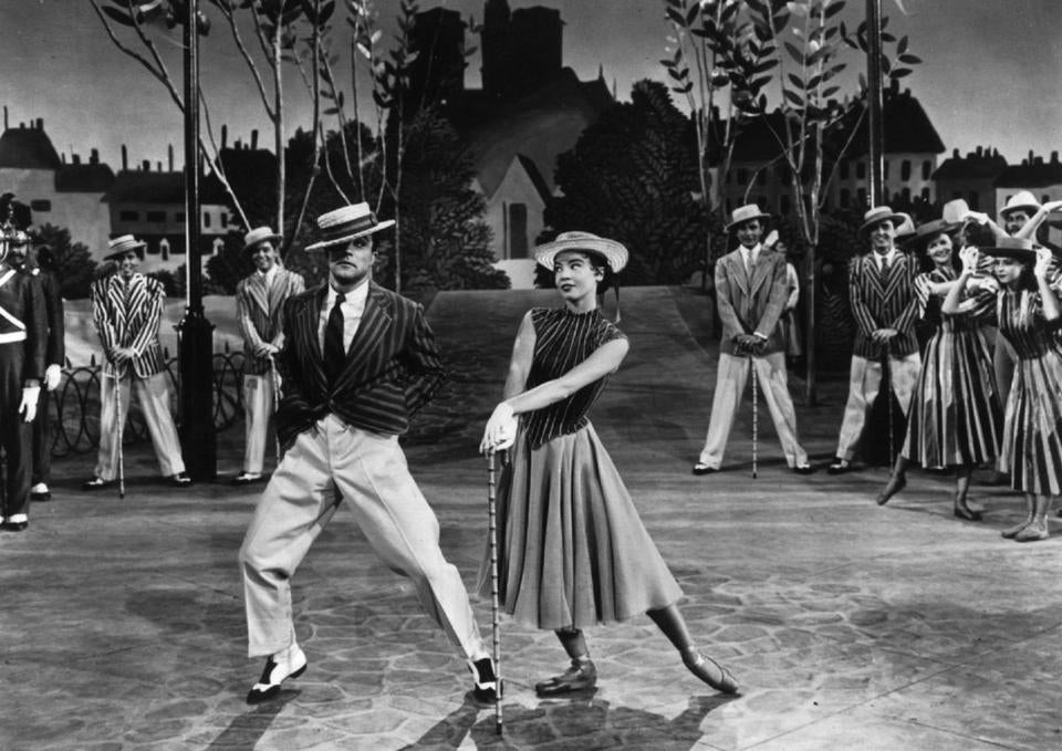 "Gene Kelly with Leslie Caron in ""An American in Paris."""