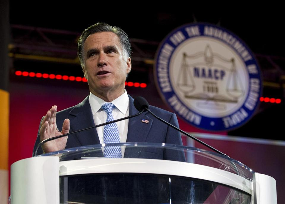 Republican presidential candidate Mitt Romney gestured during a speech to the NAACP annual convention in Houston on Wednesday.
