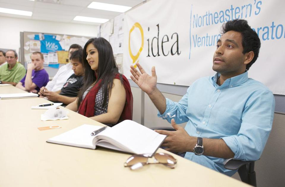 Afjal Wahidi and other Northeastern students took part in a session last week on how to pitch an idea to business investors.