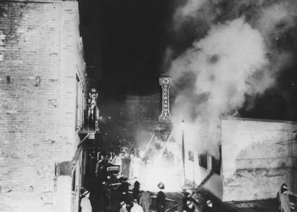 A fire destroyed the Cocoanut Grove Night Club and killed hundreds on Nov. 28, 1942.