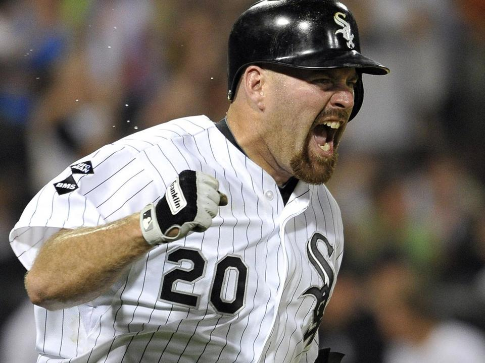 Kevin Youkilis reacted as he ran to first base after hitting a game-winning RBI single in the tenth inning against the Rangers on July 4 in Chicago.