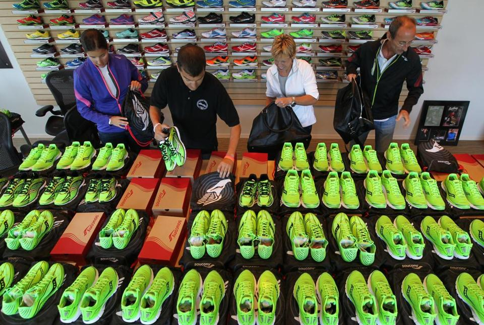 The Saucony marketing team prepared to ship running shoes to London for athletes competing in the Olympics.