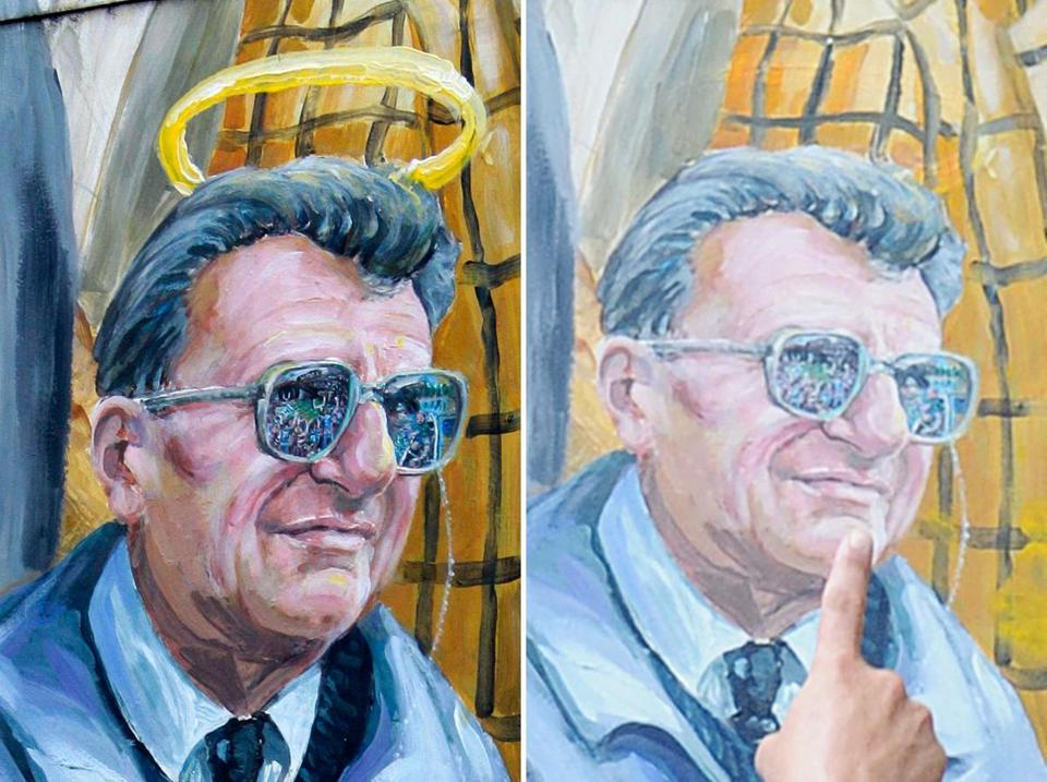 The halo over the late Joe Paterno was removed on July 14 by artist Michael Pilato.