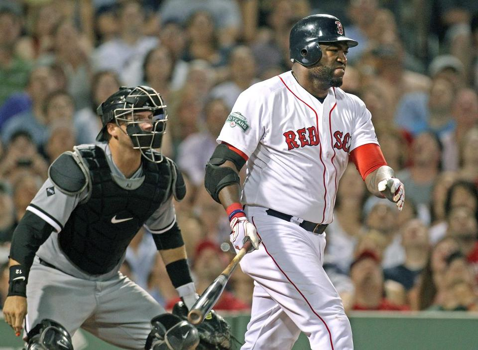 David Ortiz works an eighth-inning walk Monday; he hurt his Achilles' running the bases later in the inning.