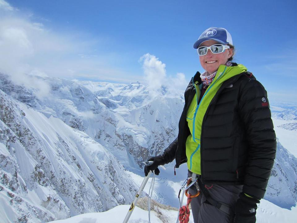 Kristen Kelliher at 14,000 feet on Mount McKinley, above Kahiltna Glacier.