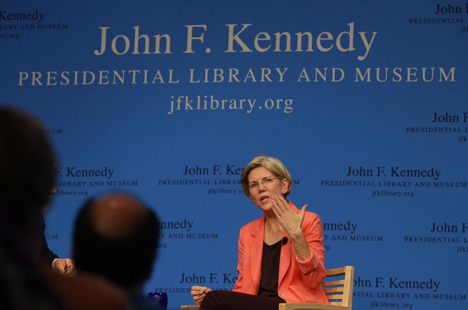 Democratic US Senate candidate Elizabeth Warren talked during a forum at the John F. Kennedy Presidential Library and Museum in Boston on Tuesday.