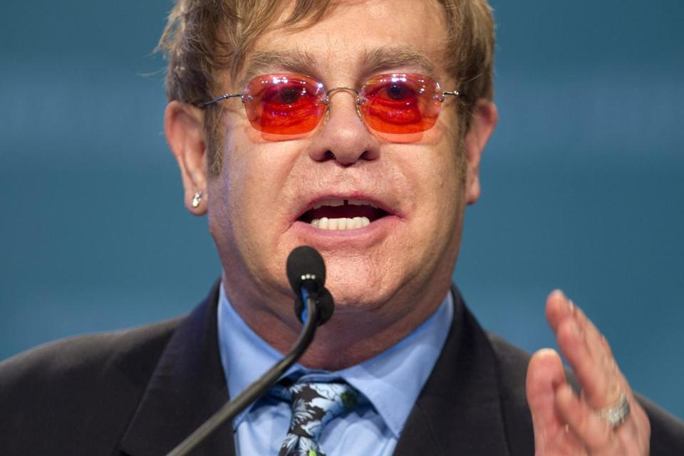 Sir Elton John was a guest speaker at the 2012 International AIDS Conference Monday.