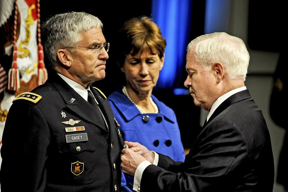 When Casey retired as Army chief of staff in 2011, Defense Secretary Robert Gates presented him the Defense Distinguished Service Medal and his wife, Sheila, the Defense Distinguished Civilian Service Medal.