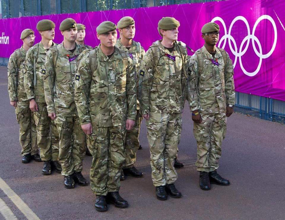 British troops joined security preparations at the Olympic beach volleyball venue on Tuesday.