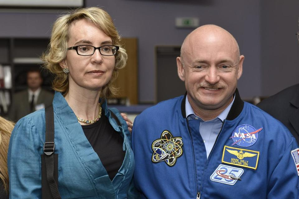 Gabrielle Giffords, accompanied by her husband, Mark Kelly, said little during the tour.